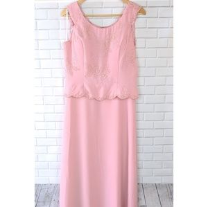 May Queen Pink Beaded Formal Dress